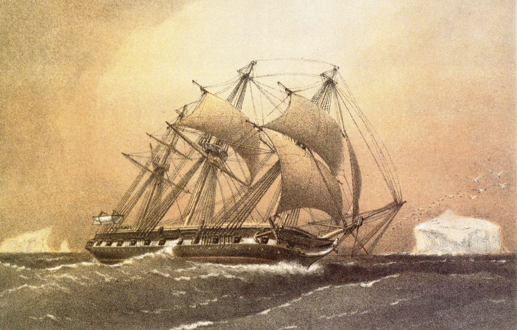 An etching of the HMS Challenger with full sails made of hemp